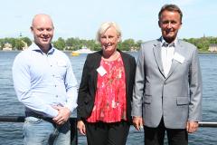 Idrottspriskommitténs Agneta Swenson med Harald Hällén och Lars Backlund, m/t Evinco