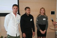 Sjöbefälsstudenterna Fredrik Olin, Kalle Holmberg och Emma Lehnberg, Dickson IF.