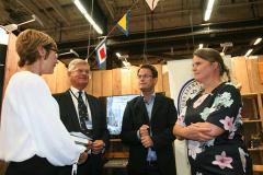 Marknadschef Christina Haugen på Historiska Media, Christer Nordling, Joachim Östlund och Pia Berglund.